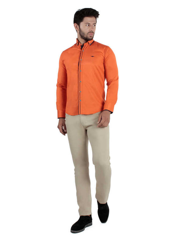 David Ginola Dual accented casual shirts - Orange