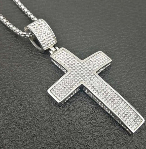 Stainless steel hip hop cross pendant necklace with necklace