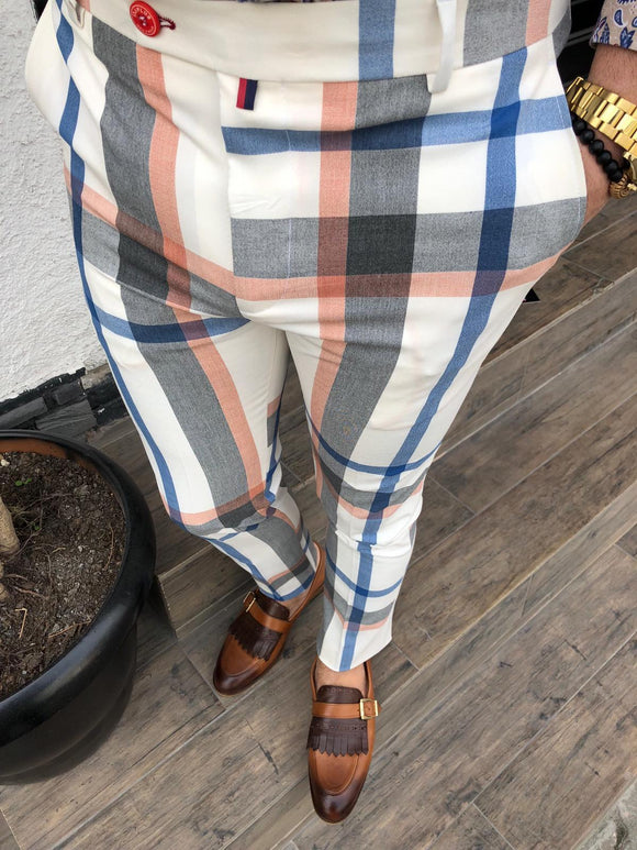 Men's cream, grey, orange & blue plaid pants