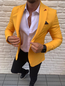 Men's Slim-fit Yellow Blazer