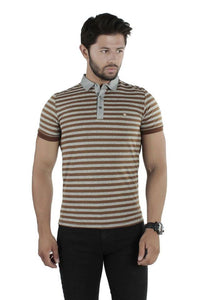 Brango Brown & grey stripped polo shirts