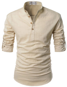 Pop over, Mandarin Collar shirts, Regular fit