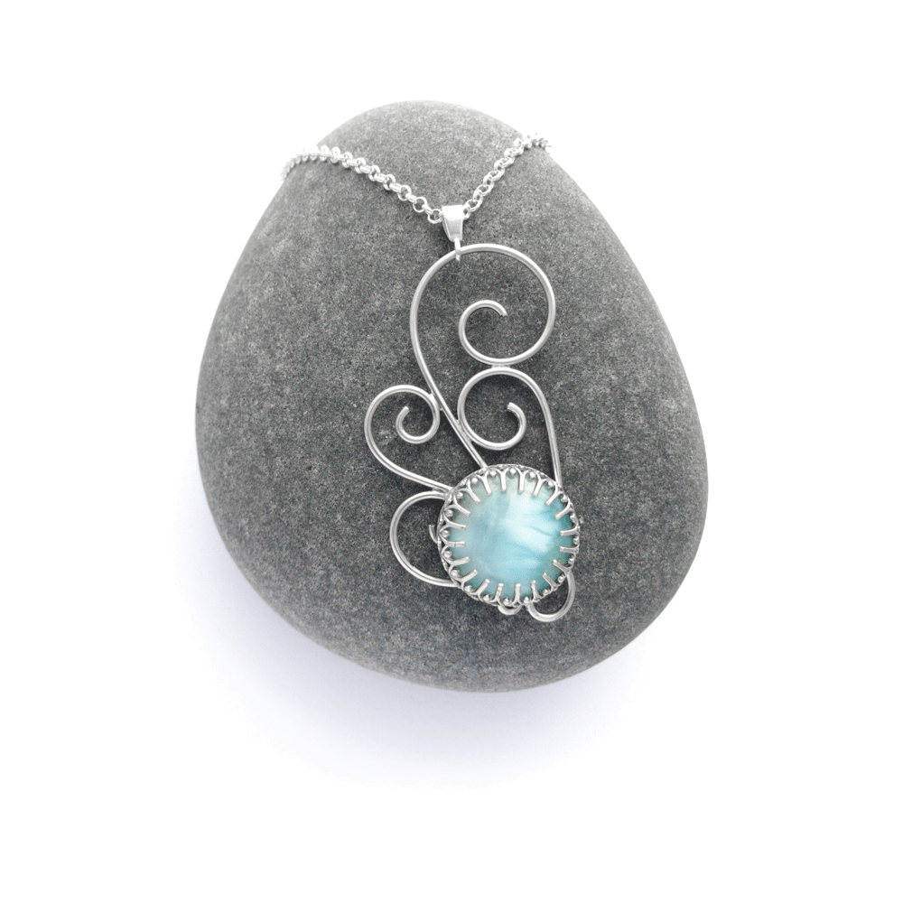 bridal necklace, one of a kind, larimar pendant, something blue jewelry