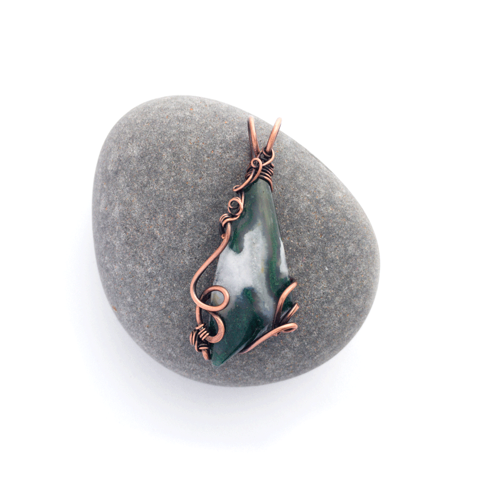 healing copper with moss agate jewelry