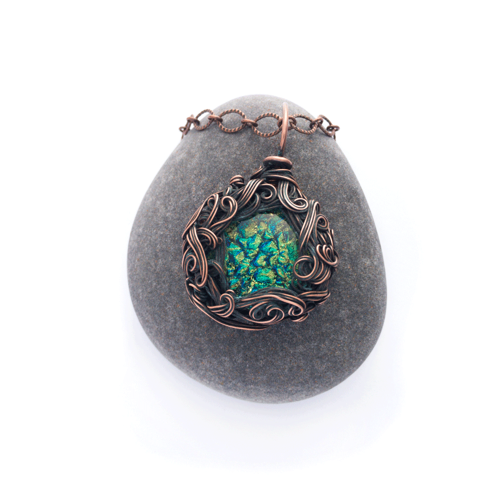 Zephyr necklace with Dichroic glass