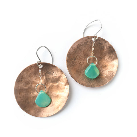 Boho shield disc earrings in sterling silver and copper with teal drops
