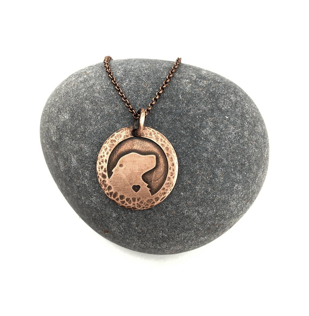 Heart of the Wolf series Retriever silhouette necklace