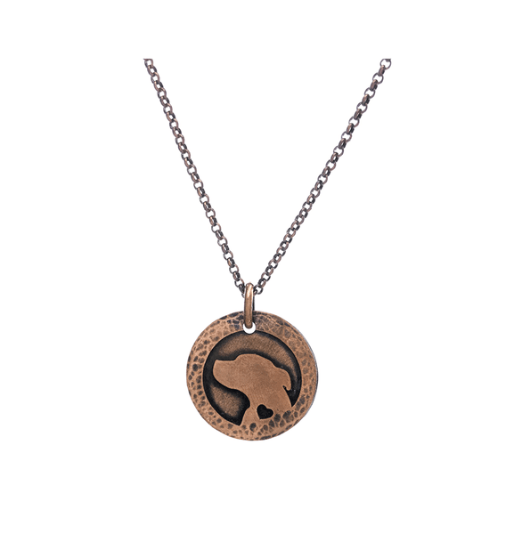 Heart of the Wolf series Pit Bull Terrier silhouette necklace