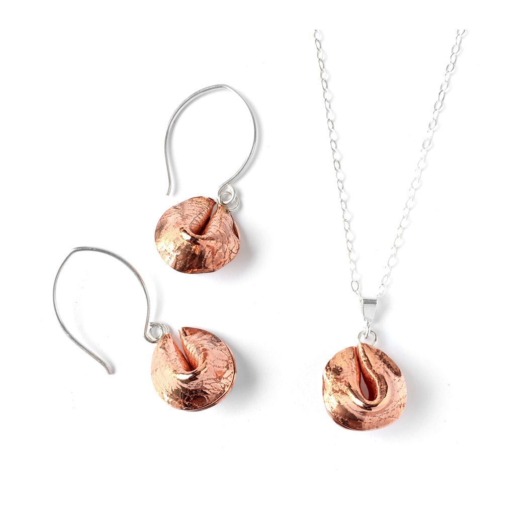 Fortune cookie necklace and earring set in textured copper and sterling silver