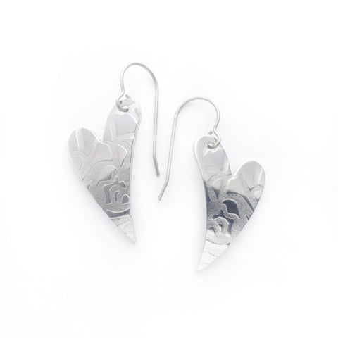 Superlight heart earrings - roses