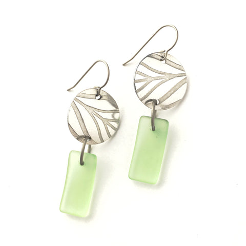Green and Silver matte glass earrings with titanium hypoallergenic ear wires