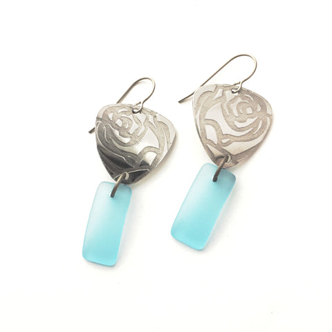 Roses light blue matte glass silver earrings