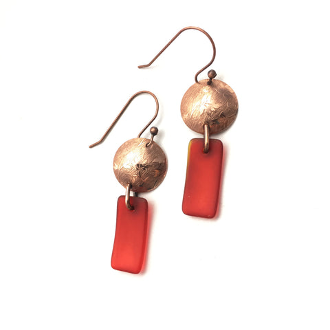 Autumn leaves red matte glass and copper earrings