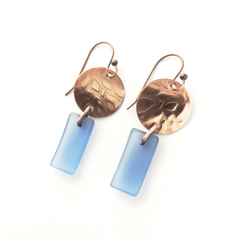 Matte periwinkle blue glass and copper earrings