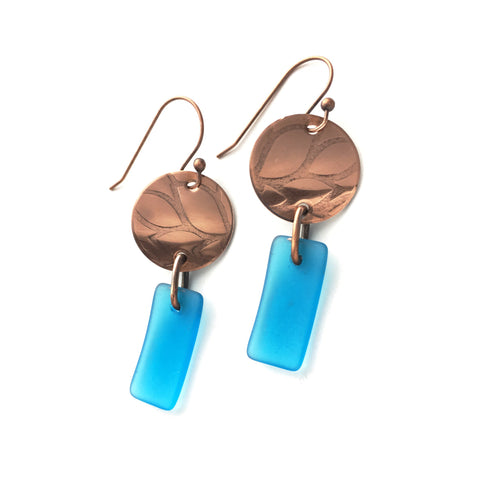 Caribbean blue and copper matte glass earrings