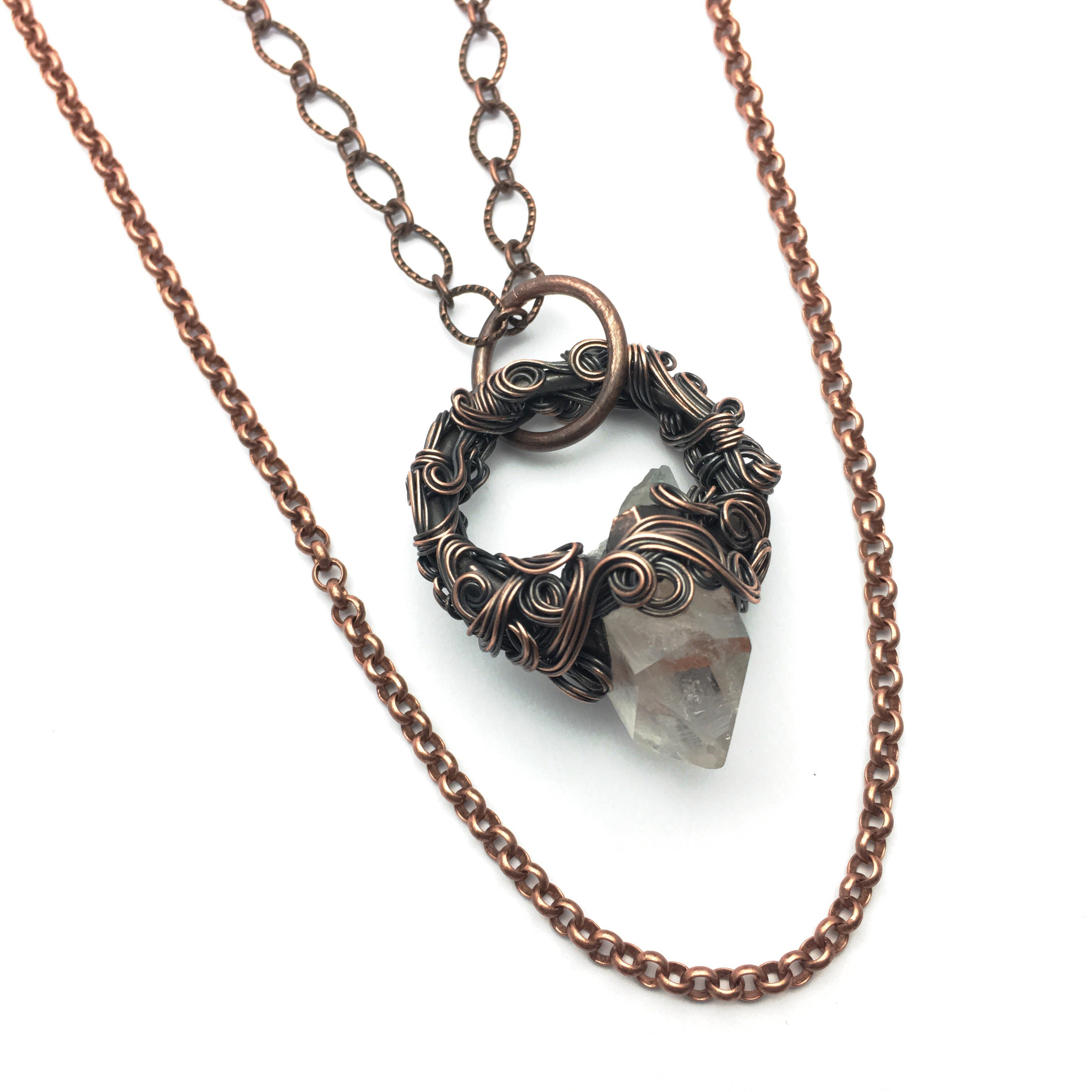 Amara Quartz point double necklace in copper