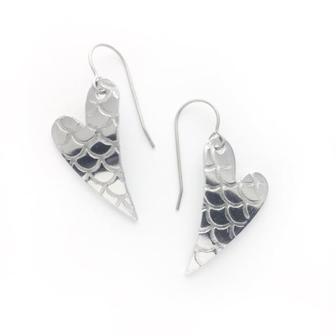 Superlight heart earrings - mermaid scales