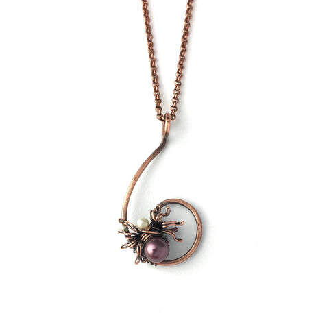 The Itsy Bitsy Spider minimalist necklace in copper