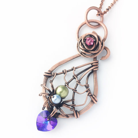 Dreamweaver Valentine Spider Necklace