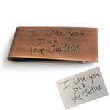 Father's Day money clip with child's handwriting on back