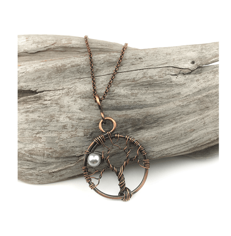 Simple tree of life necklace with full moon pearl