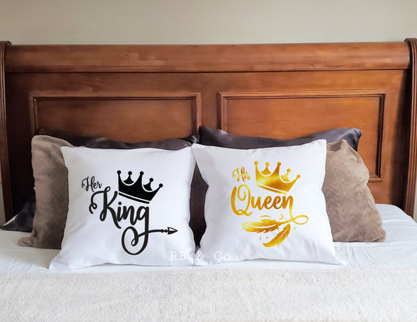 Couple Pillows King and Queen Couples Pillows Insert Included Couples gift Gift for Couple 18x18