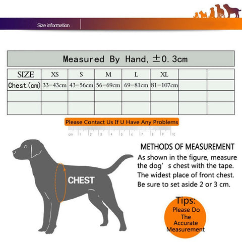 Chart reference to measure a dogs chest