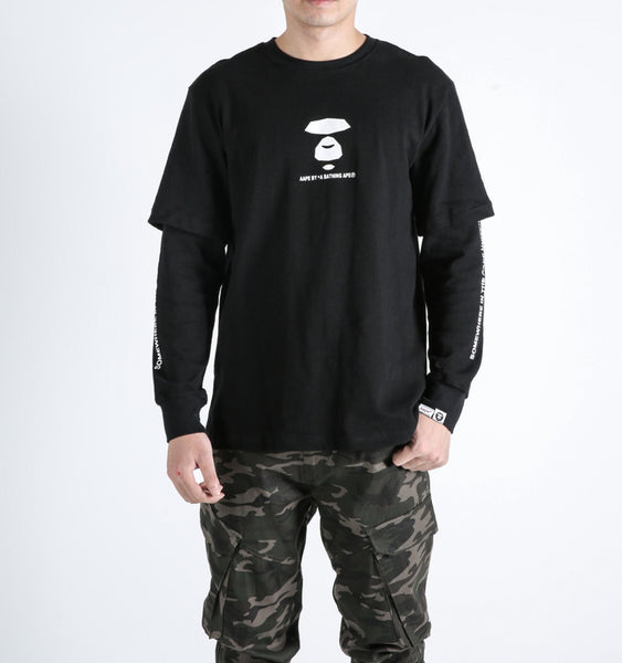 Aape By A Bathing Ape AAPE Black Army Long Sleeve T-Shirt