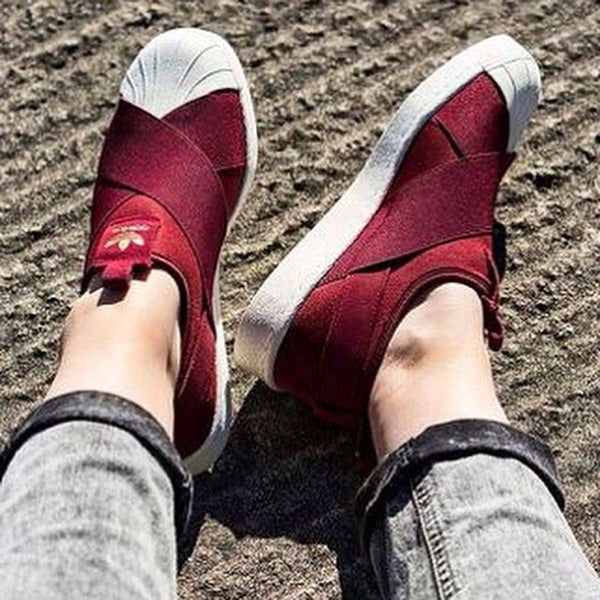 Adidas Womens Superstar Slip On Red Burgundy