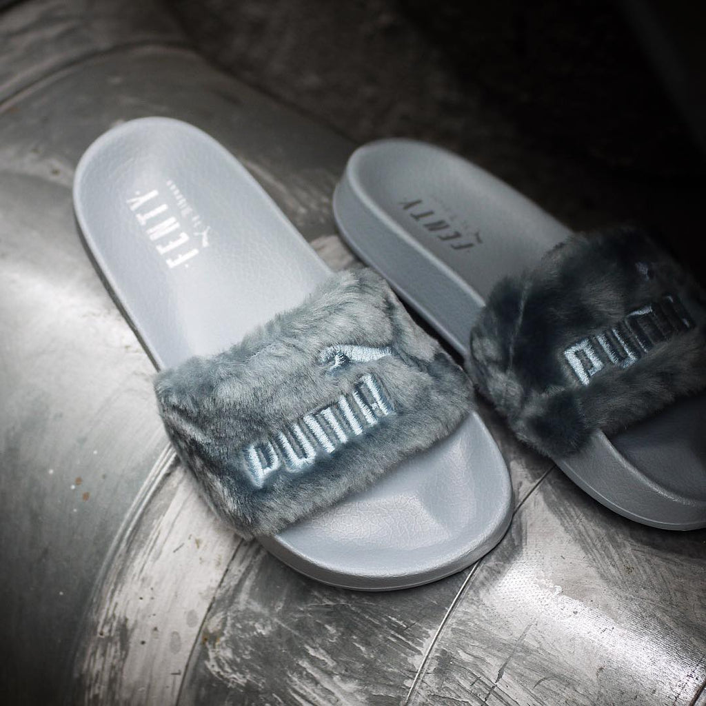 "Puma Fenty by Rihanna 'Leadcat Fenty' Faux Fur Slide  ""Grey"""