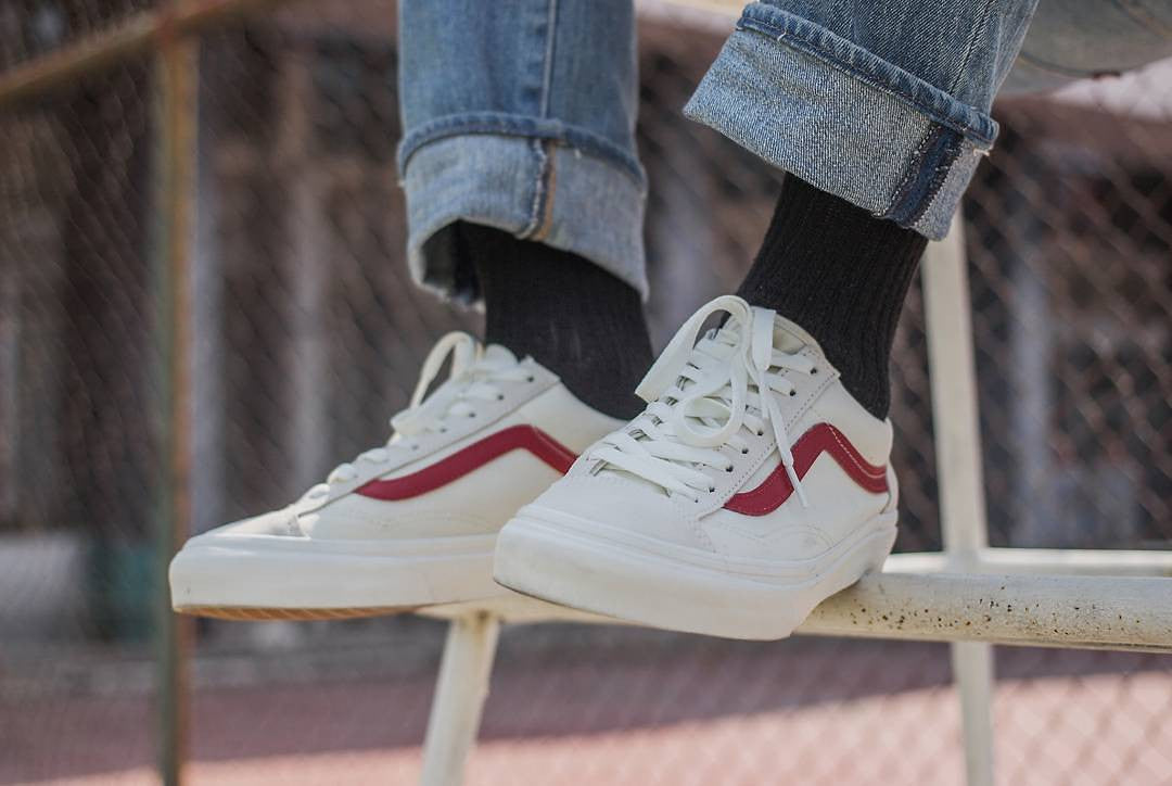 vans old skool white red gd
