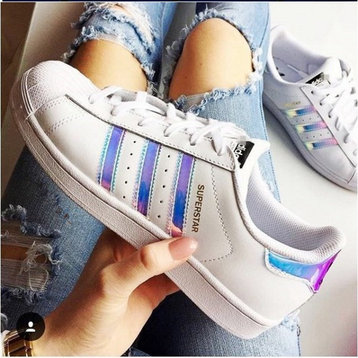 adidas superstar white metal silver