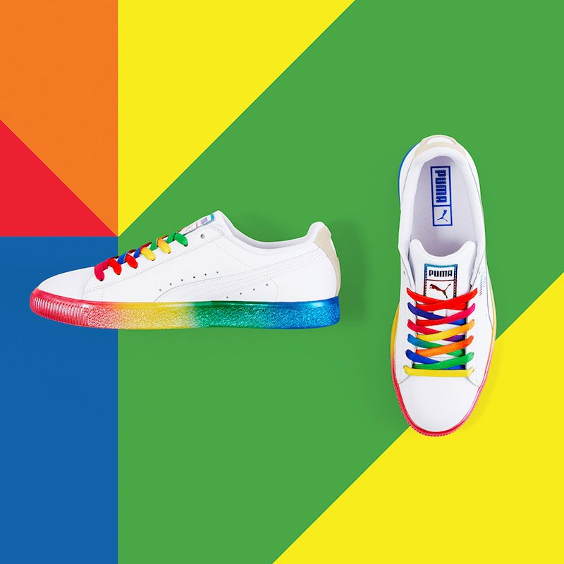 aed3c1cc2684 ... Metallic Rainbow PUMA Logo Label at tongue  Rainbow PUMA Clyde Logo at  lateral side
