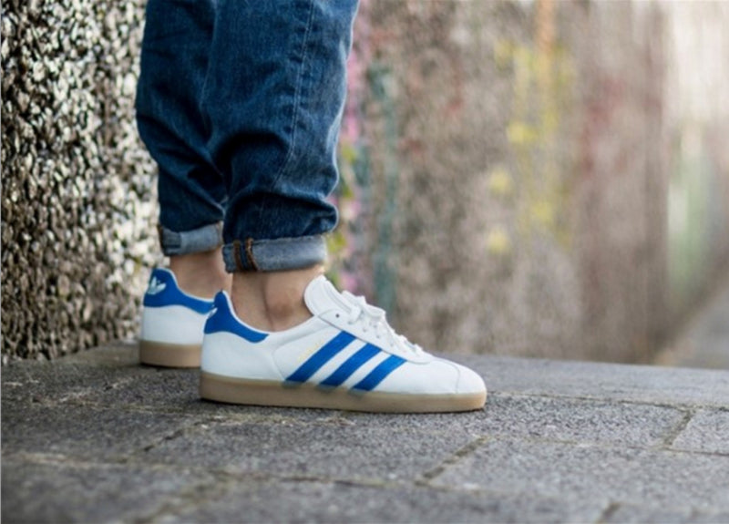 Red And Vintage White Cover This adidas Gazelle Super Kicks On Fire