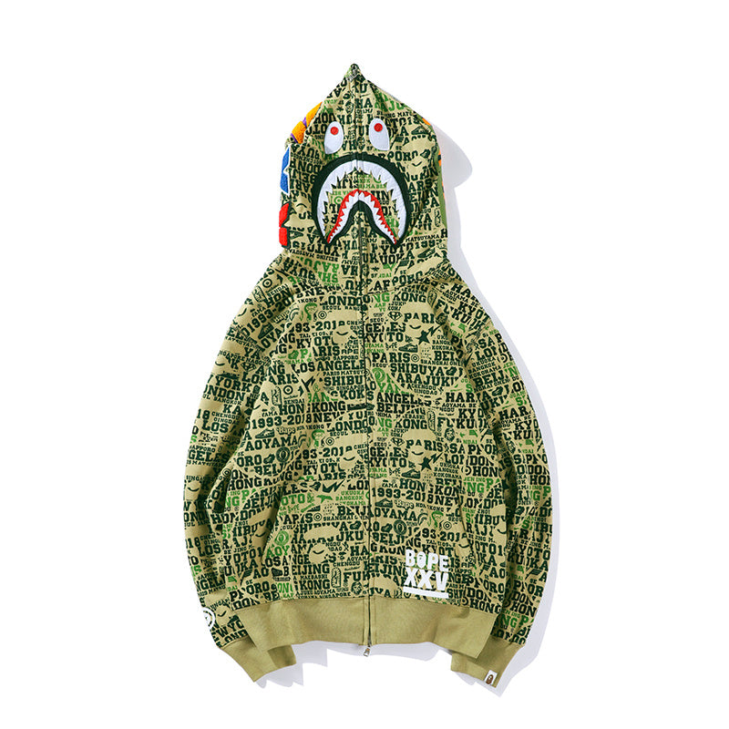 A Bathing Ape Bape Xxv Cities Camo Shark Full Zip Hoodie