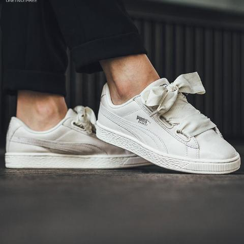 0013f8f5991 Puma Basket Heart NS Wns Bows White Ivory Leather