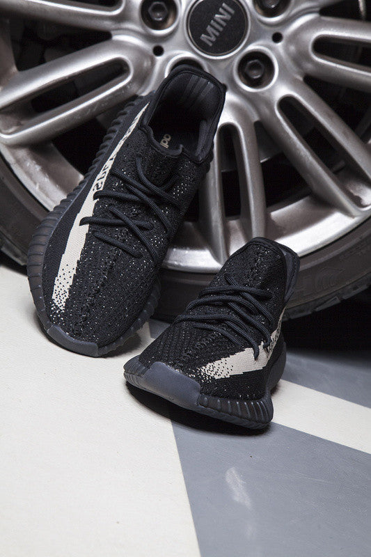 Mens Adidas Yeezy 350 Boost V 2 Black White BY 1604 Cheap Sale