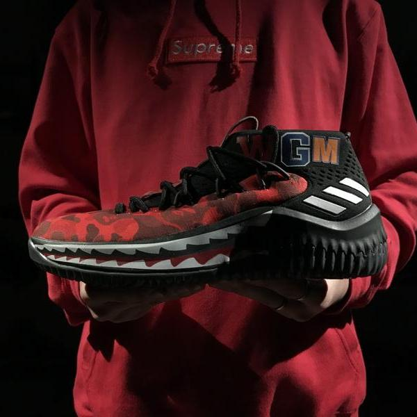 "A Bathing Ape x adidas Dame 4 Camo ""Red"""