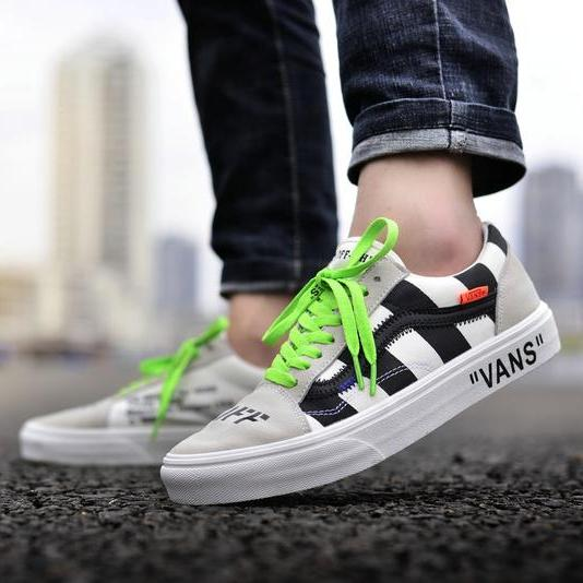 "Off White X Vans Old Skool Custom ""Virgil Abloh""- Grey"