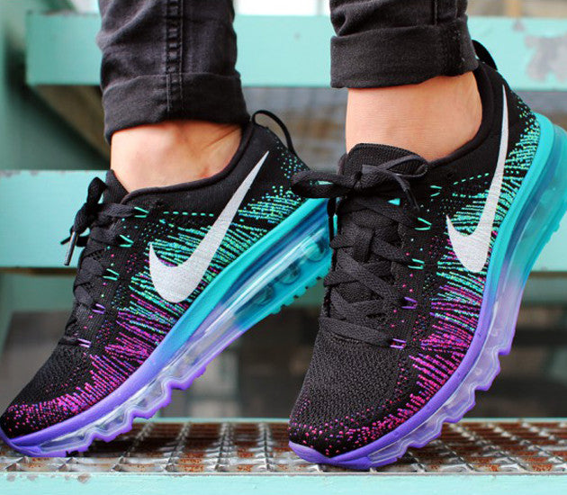 nike womens flyknit air max black white purple venom