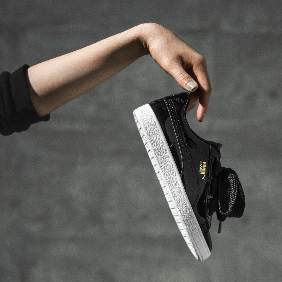 52dec0d4c4e8 PUMA Basket Heart Patent  Black