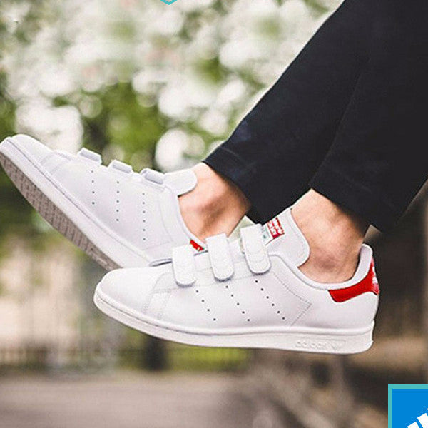 Athletic Casual White Red Unisex Adidas Stan Smith Sneaker Shoes