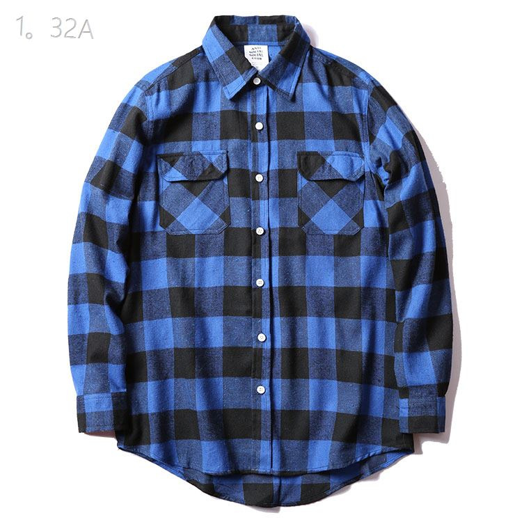 Anti Social Social Club Blue Plaid Shirts
