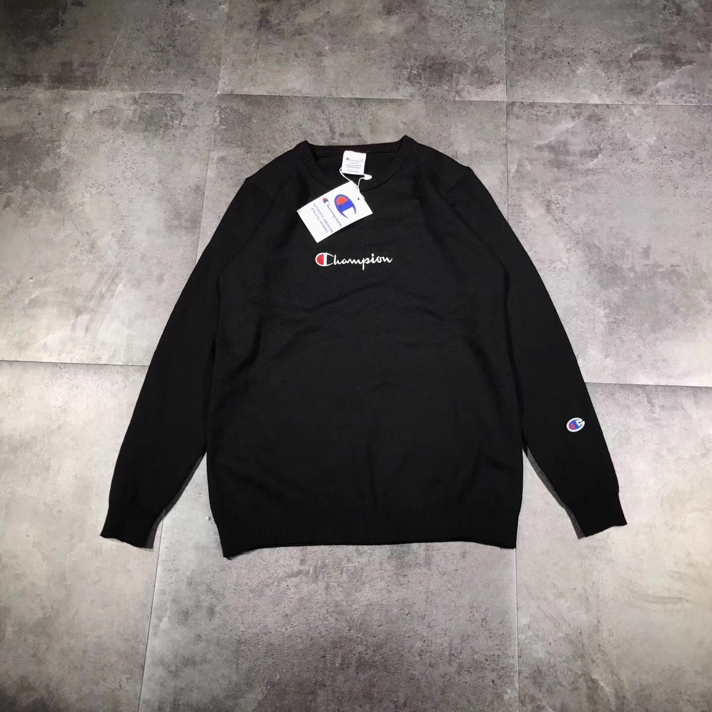 3eed2a943073 Champion Reverse Weave Script Terry Crewneck Sweater