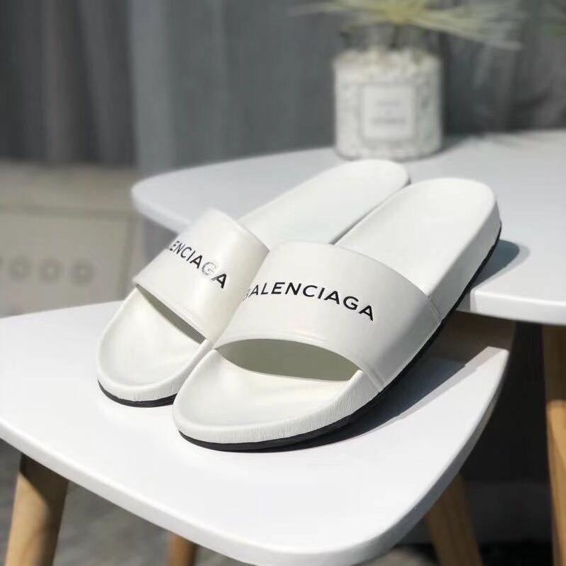 Balenciaga Logo-Stamped Leather Slide Sandals 'White'