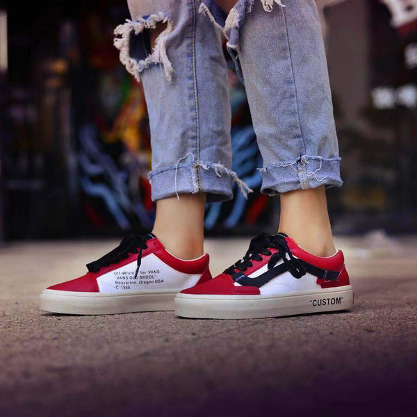 "Off-White x Vans Old Skool ""Custom"" Red White"