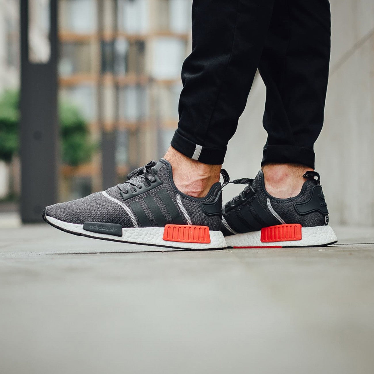 adidas nmd grey with reflective stripes