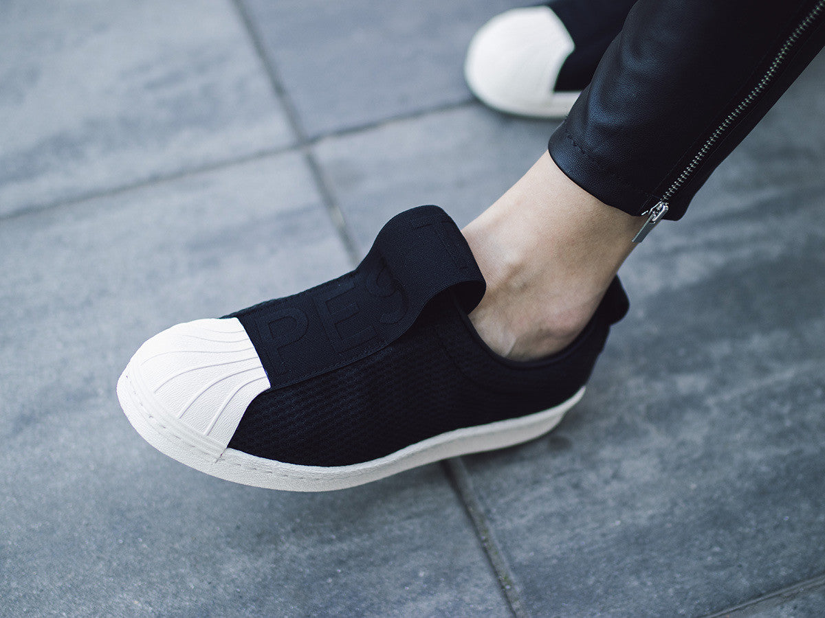 adidas superstar slip on wit