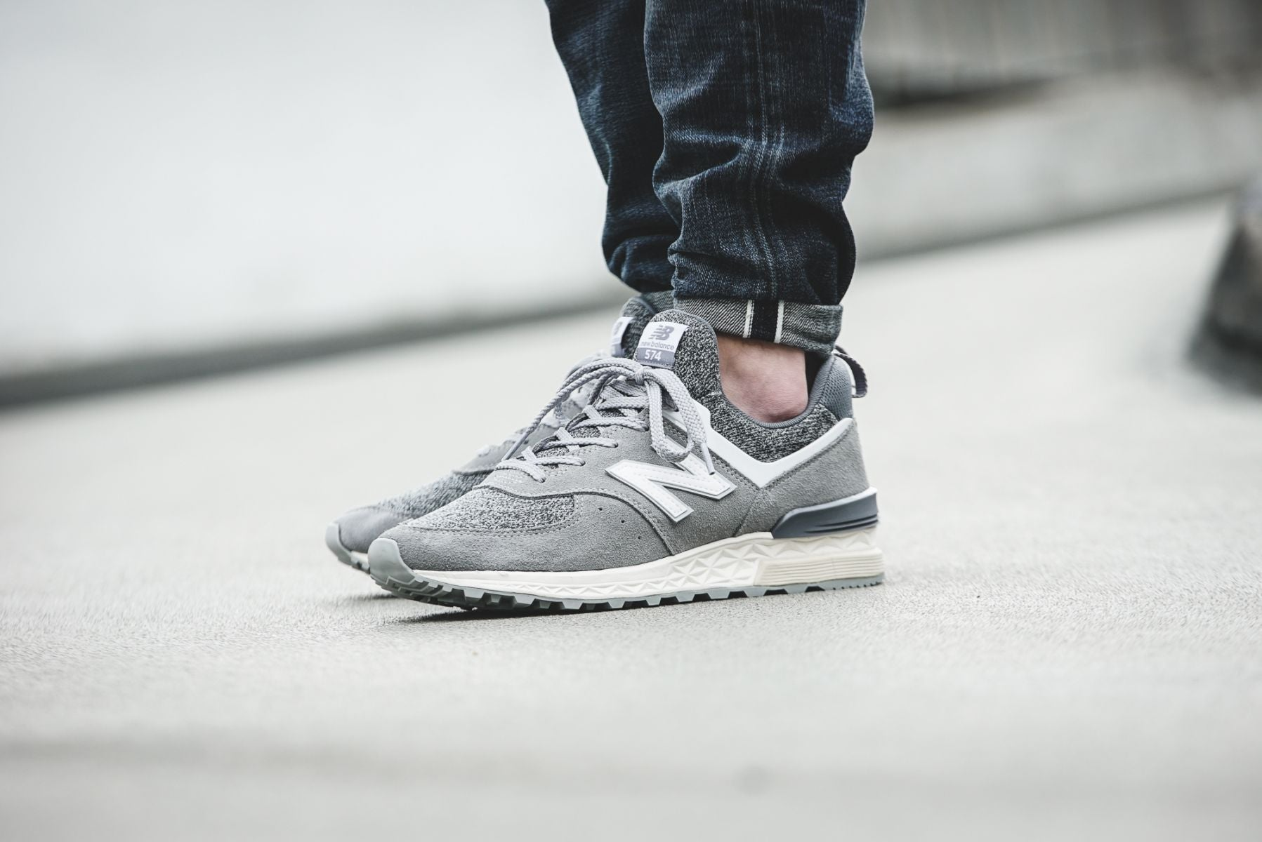 reputable site 4f3c6 a712c New Balance 574 Sport Suede Pack  Grey with White