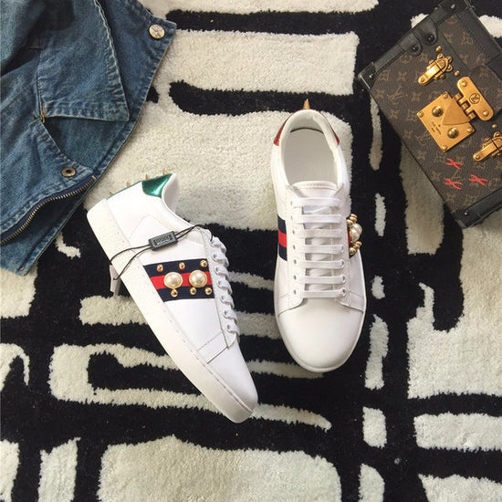 f381c53016013 Gucci Ace Pearl Studded Leather Low-Top Sneaker  White